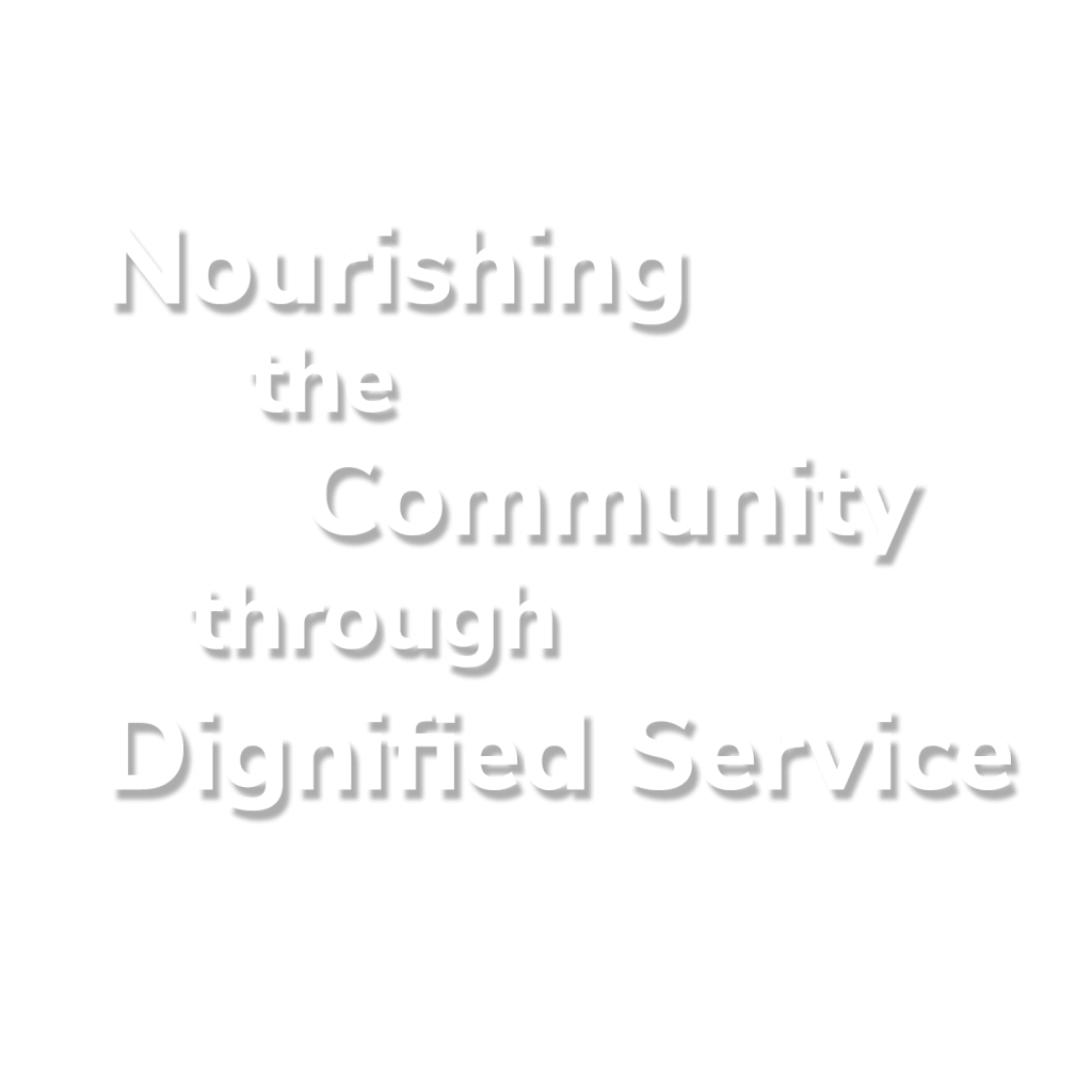Text Nourishing the Community through Dignified Service Registered Trademark