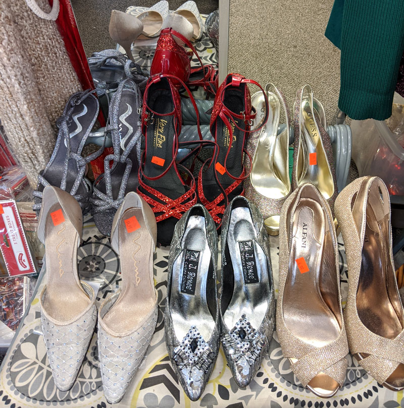 Collection of high heels in our thrift store.