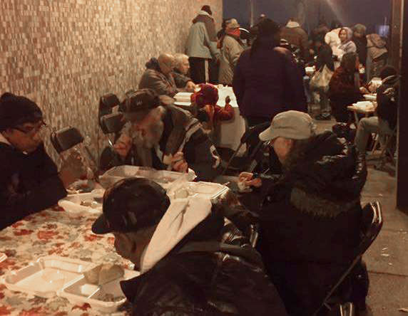 Meals being served to the homeless in Buffalo
