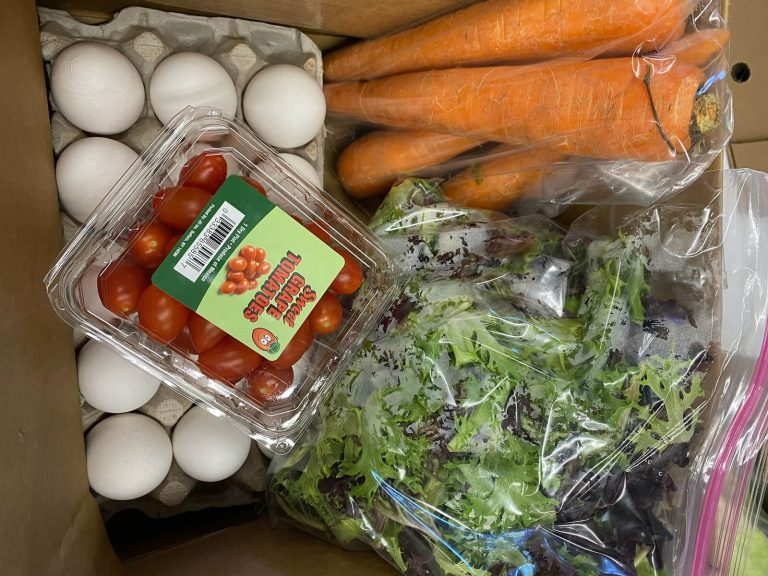 a grocery bag donation from hearts harvest food pantry containing eggs carrots and more