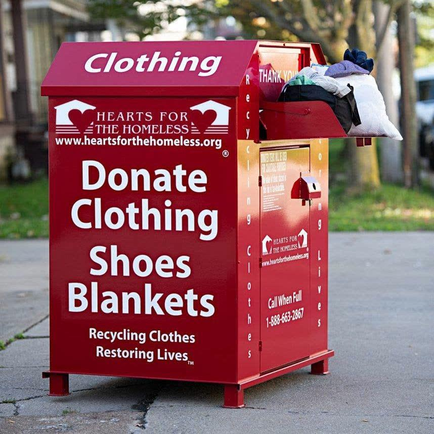 Hearts for the Homeless red donation bin