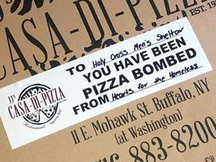 Hearts sends weekend pizza deliveries to COVID homeless shelters.