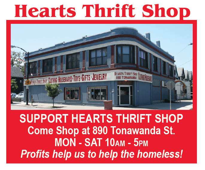 Heart Thrift Shop - Support Hearts Thrift Shop, come Shop at 890 Tonawanda st. MON- SAT 10 am - 5 pm, Profits help us the help the homeless!