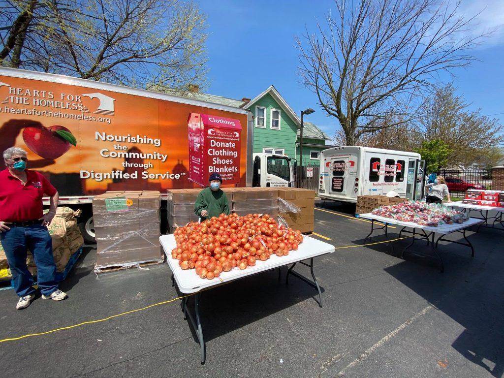 mobile food pantry outside