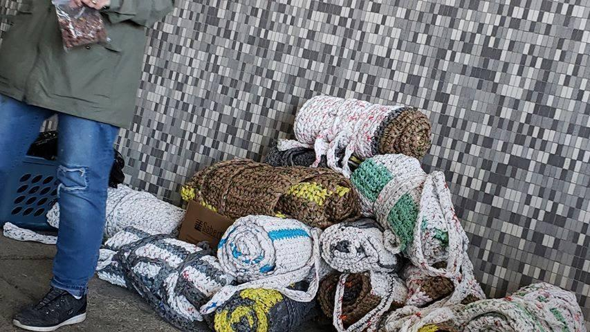 blanket donations at the downtown library during feeding hours