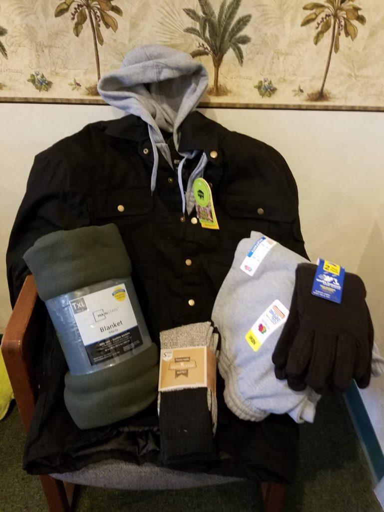 Coat, Blanket, Socks, Pants, and Gloves