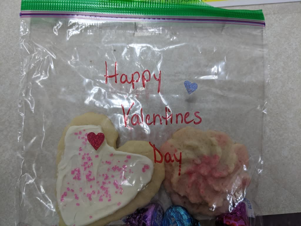 Heart shaped cookies in a bag